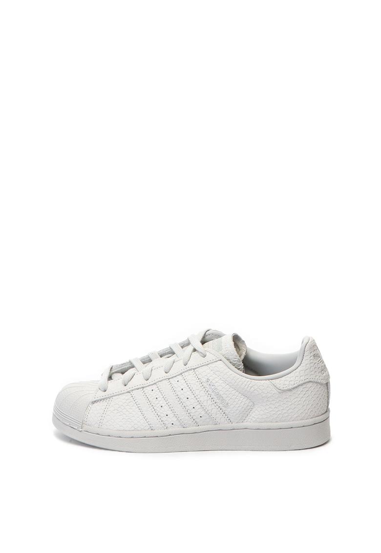 Adidas ORIGINALS Pantofi sport de piele cu textura de piele de sarpe Superstar