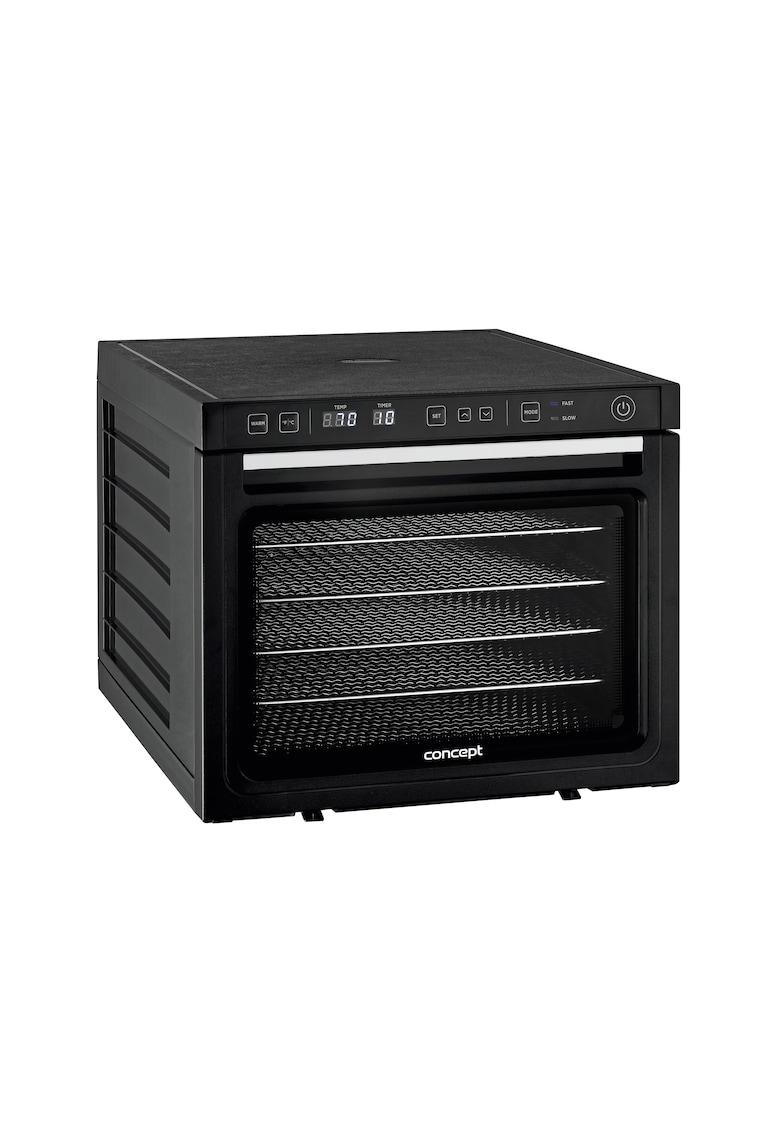 Deshidrator de alimente - 1000 W - 6 tavi de inox - tava 34 x 38 cm - display LED - 2 ventilatoare - 35-70 °C - timer 48h - Negru imagine fashiondays.ro 2021