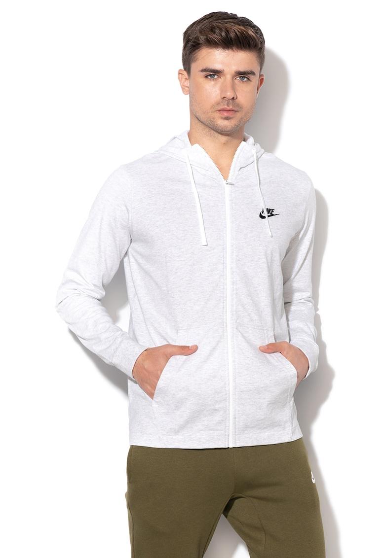 e45c9c0e59 Cipzáros kapucnis pulóver hímzett logóval, Melange világosszürke, - Nike  (861754-051)