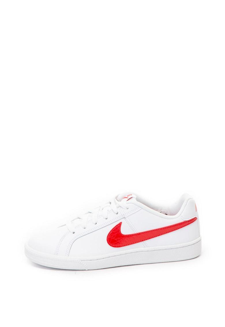 Nike Pantofi sport de piele – cu garnituri de piele ecologica Court Royale – Alb/Rosu – 9.5