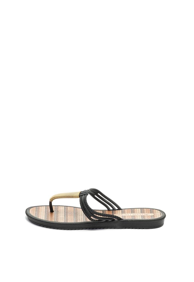 Papuci flip-flop cu garnituri cu aspect metalizat Riviera II de la Grendha