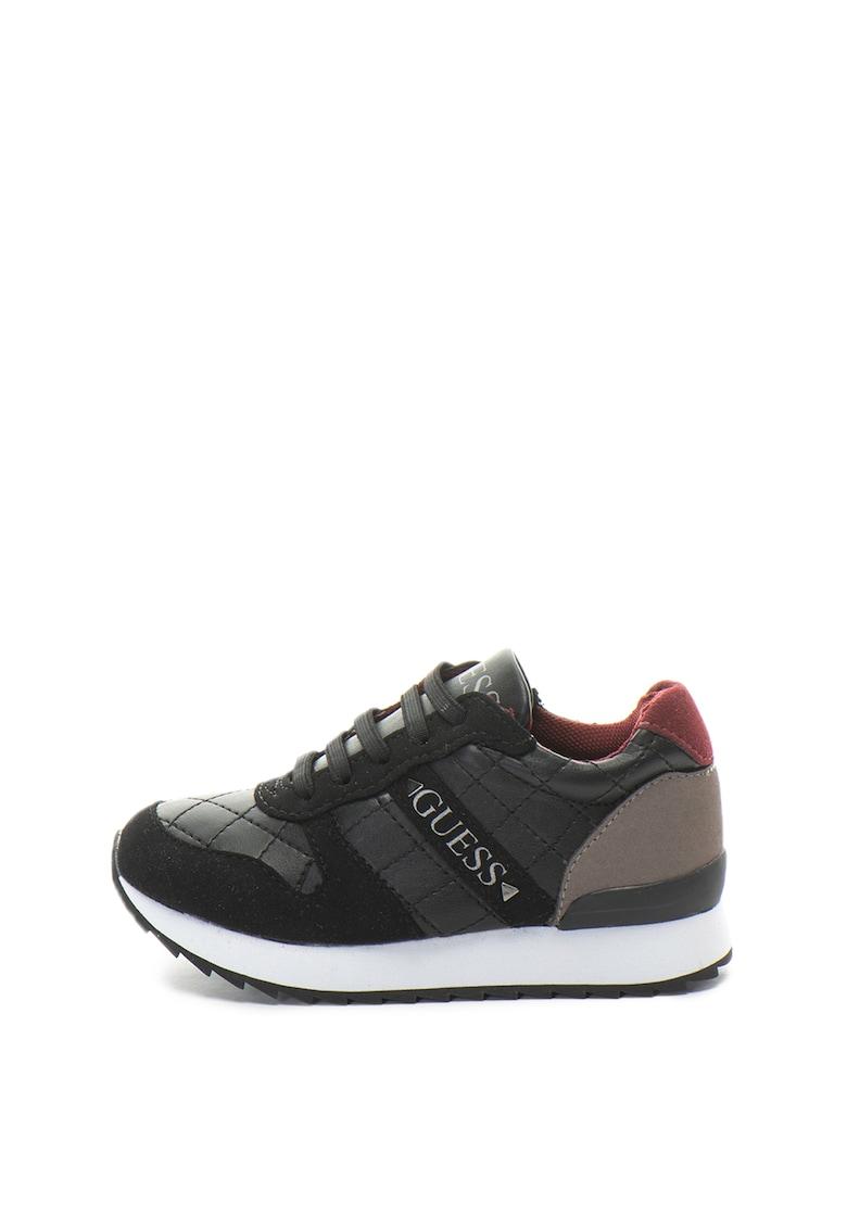 Guess Pantofi sport cu garnituri de piele intoarsa sintetica