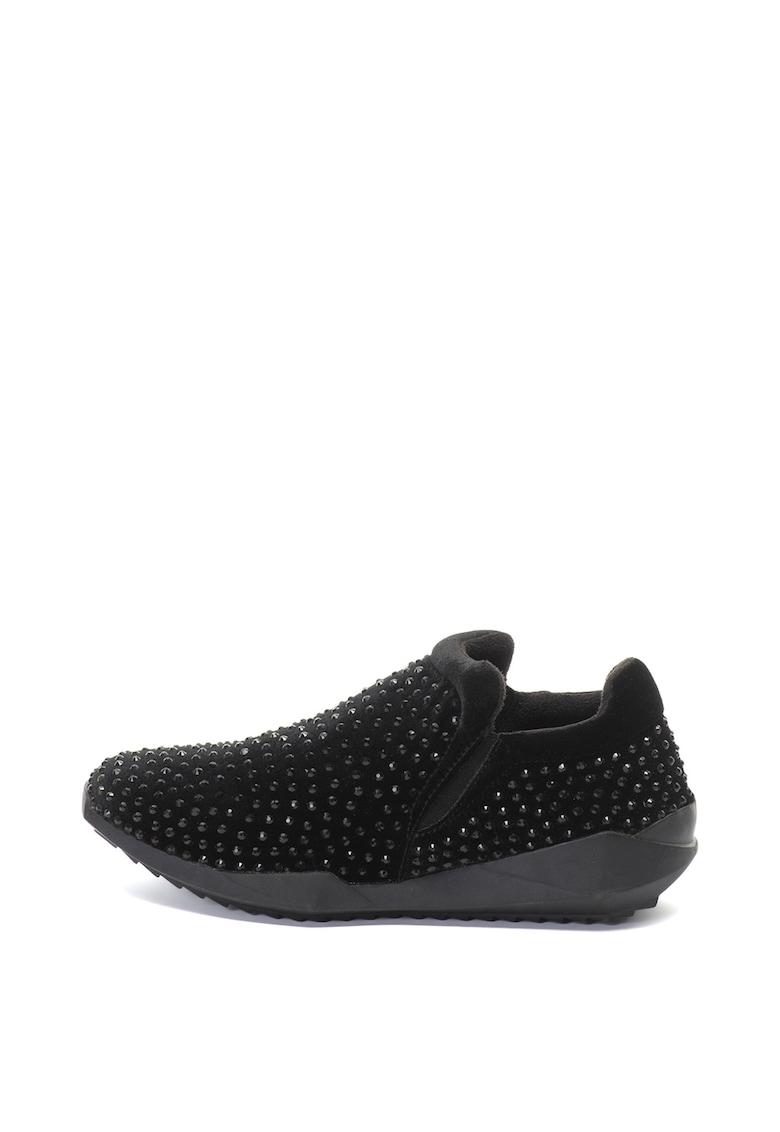 Pantofi sport slip-on de catifea cu strasuri Ester de la Oakoui