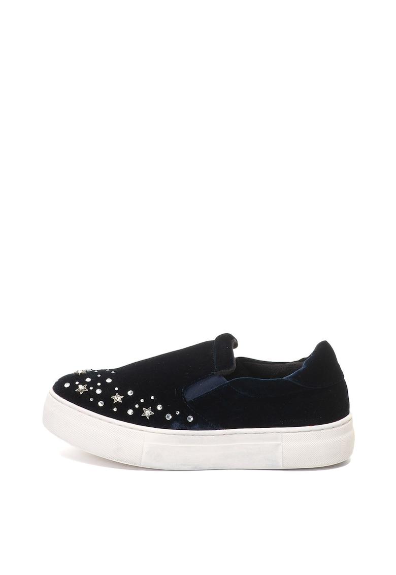 Oakoui Pantofi slip-on flatform de catifea cu strasuri Eva