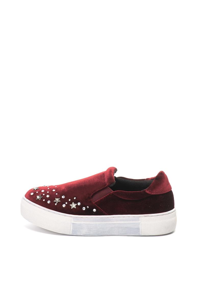 Pantofi slip-on flatform catifelati Eva