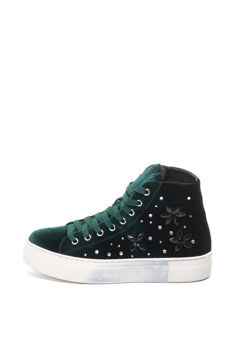 Oakoui Pantofi sport flatform de catifea cu strasuri Eva