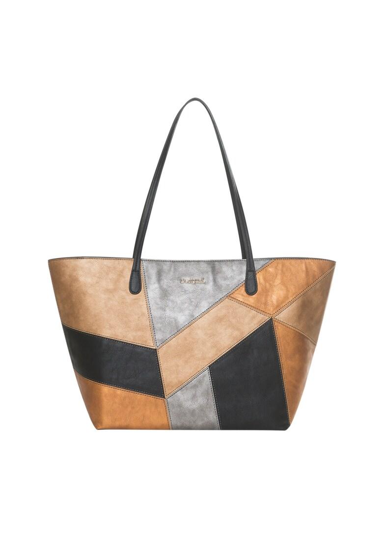 DESIGUAL Geanta shopper de piele ecologica – cu aspect metalizat
