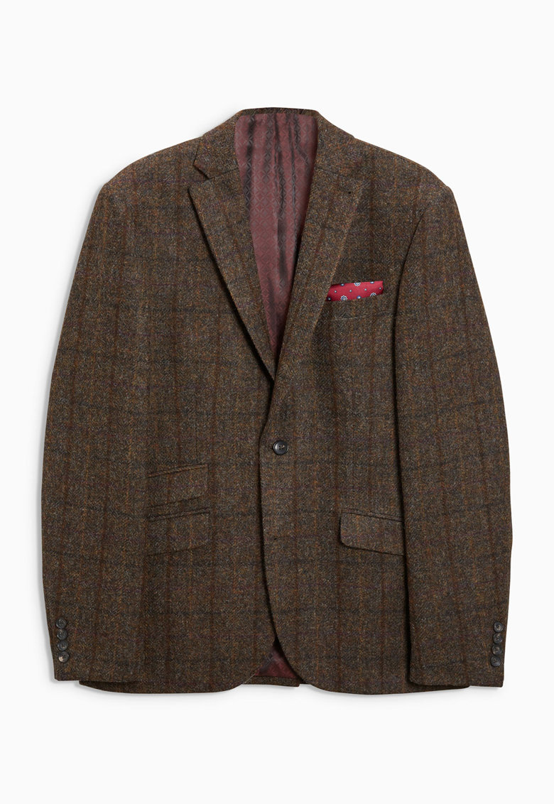 Sacou elegant slim fit de lana - cu model in carouri