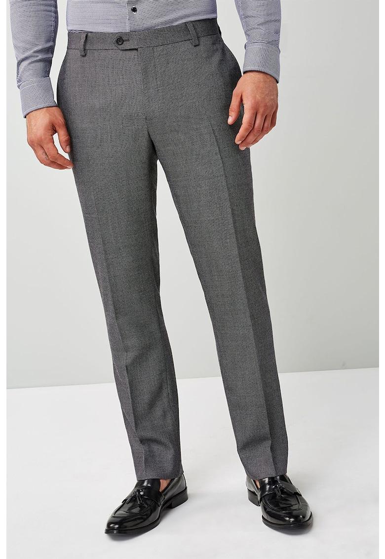 Pantaloni tailored fit din amestec de lana