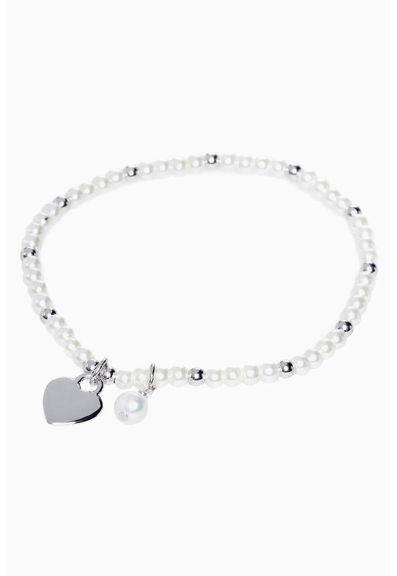 Bratara cu margele si pandantiv din argint veritabil - in forma de inima