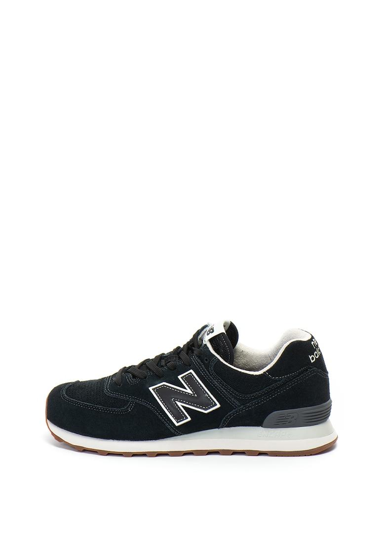 New Balance Pantofi sport de piele intoarsa si plasa 574