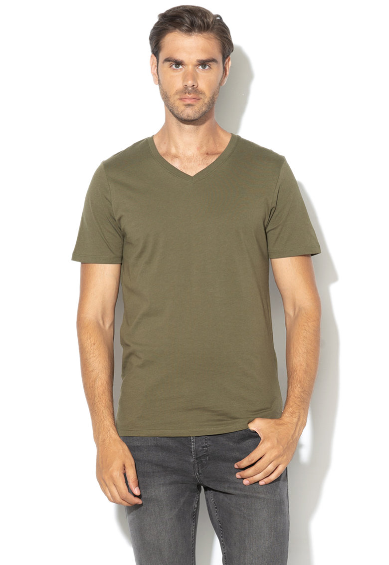 JackJones Tricou slim fit cu decolteu in V