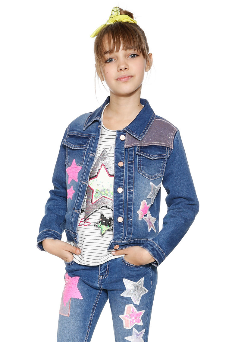 Jacheta din denim cu aplicatii cu stele thumbnail