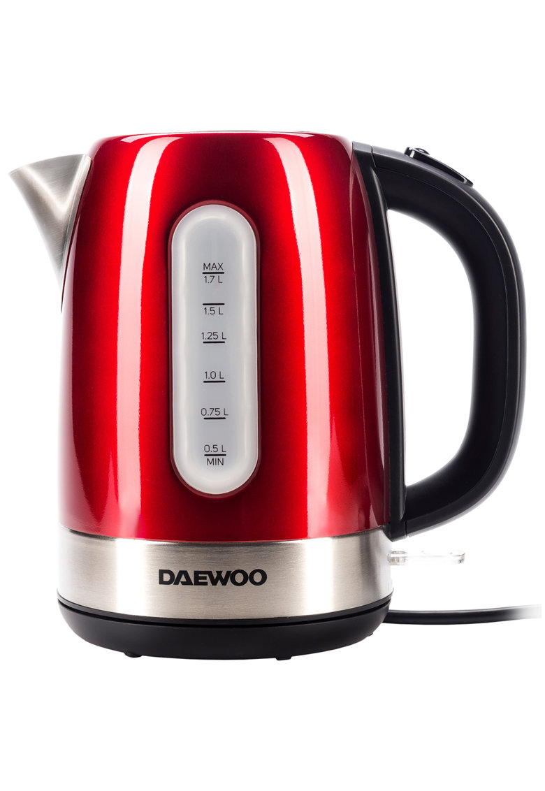 Daewoo Fierbator apa   - 2400 W - 1.7 l - indicator nivel apa - protectie supraincalzire - oprire automata - Rosu/Inox