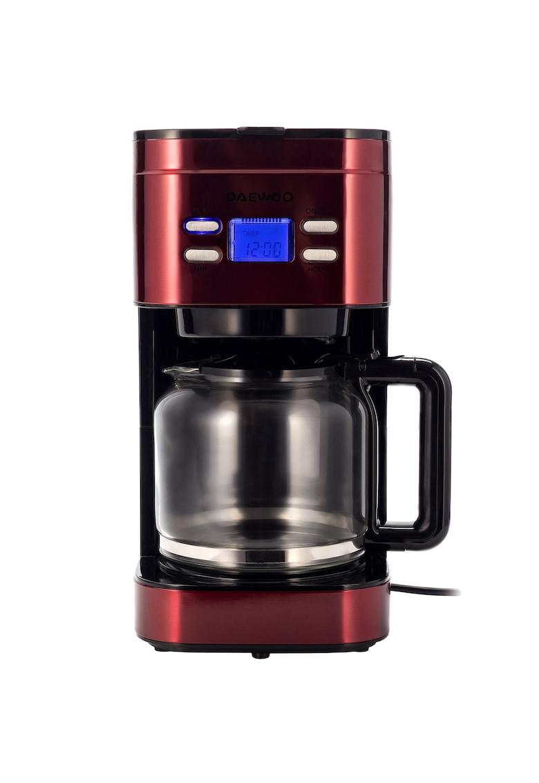 Daewoo Cafetiera   - 1000 W - 1.5 l - Filtru permanent - Timer 24 ore - Indicator nivel apa - Design ergonomic - Rosu/Negru