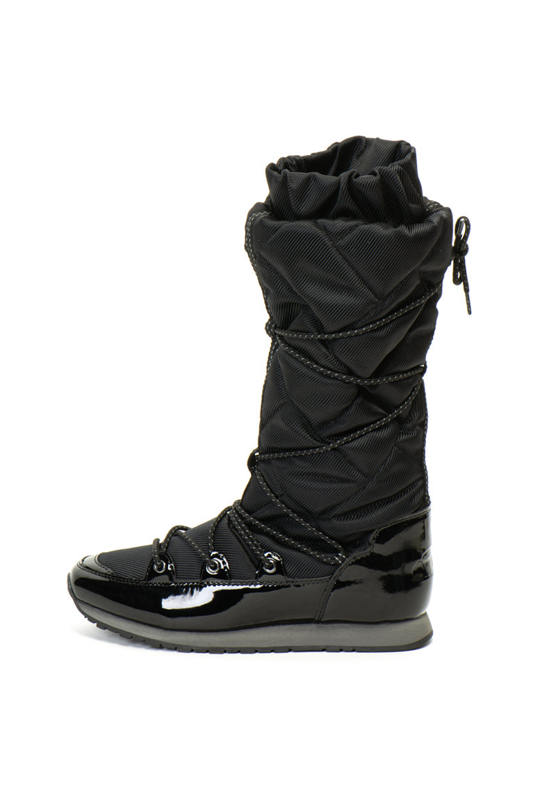 Cizme mid-calf din material textil si piele ecologica lacuita