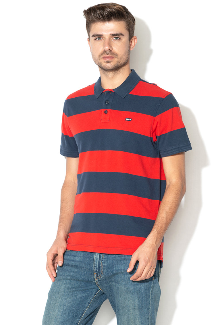Levis Tricou polo cu model in dungi si logo brodat