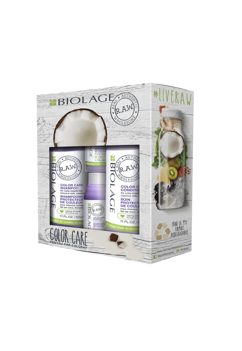 Biolage Set ingrijire par  R.A.W. Color Care pentru par vopsit: Sampon - 325 ml + Balsam - 325 ml + Sampon format calatorie - 50 ml + Balsam format calatorie - 50 ml