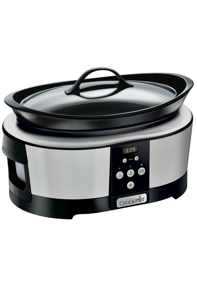 Crock-Pot Slow cooker   - 5.7 l - 2 Setari gatit - Functie pastrare la cald - Display electronic - Timer - Vas de ceramica detasabil - Argintiu