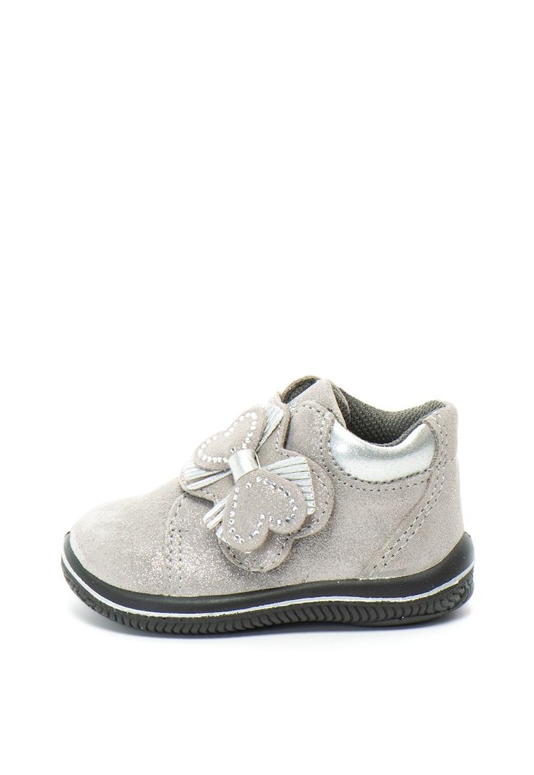 Pantofi casual de piele intoarsa cu detaliu cu funda