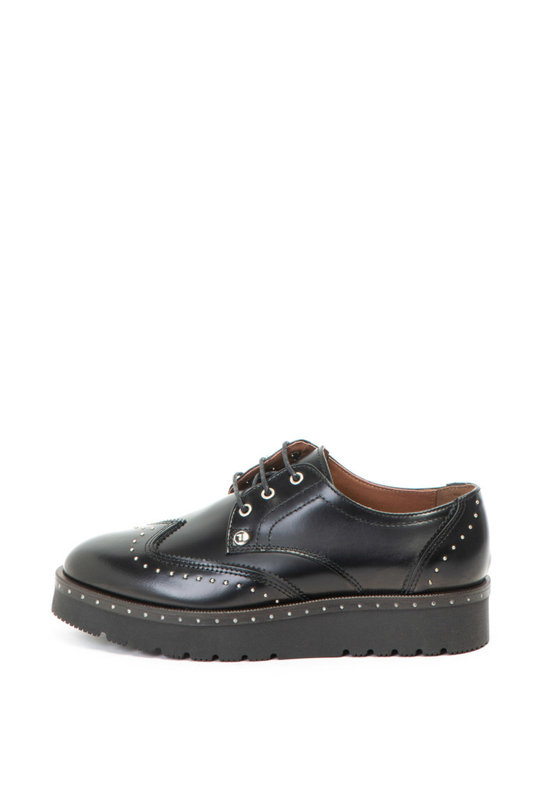 Trussardi Pantofi Brogues de piele cu talpa wedge si tinte
