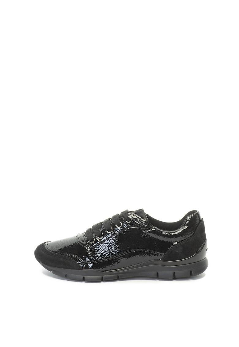 Geox Pantofi sport cu aspect lacuit si garnituri de piele intoarsa Sukie