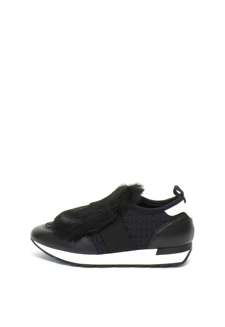 Pantofi sport slip-on cu detaliu din blana sintetica