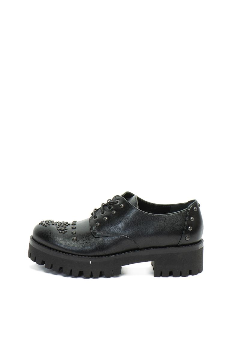 Pantofi brogue de piele ecologica cu toc masiv si tinte
