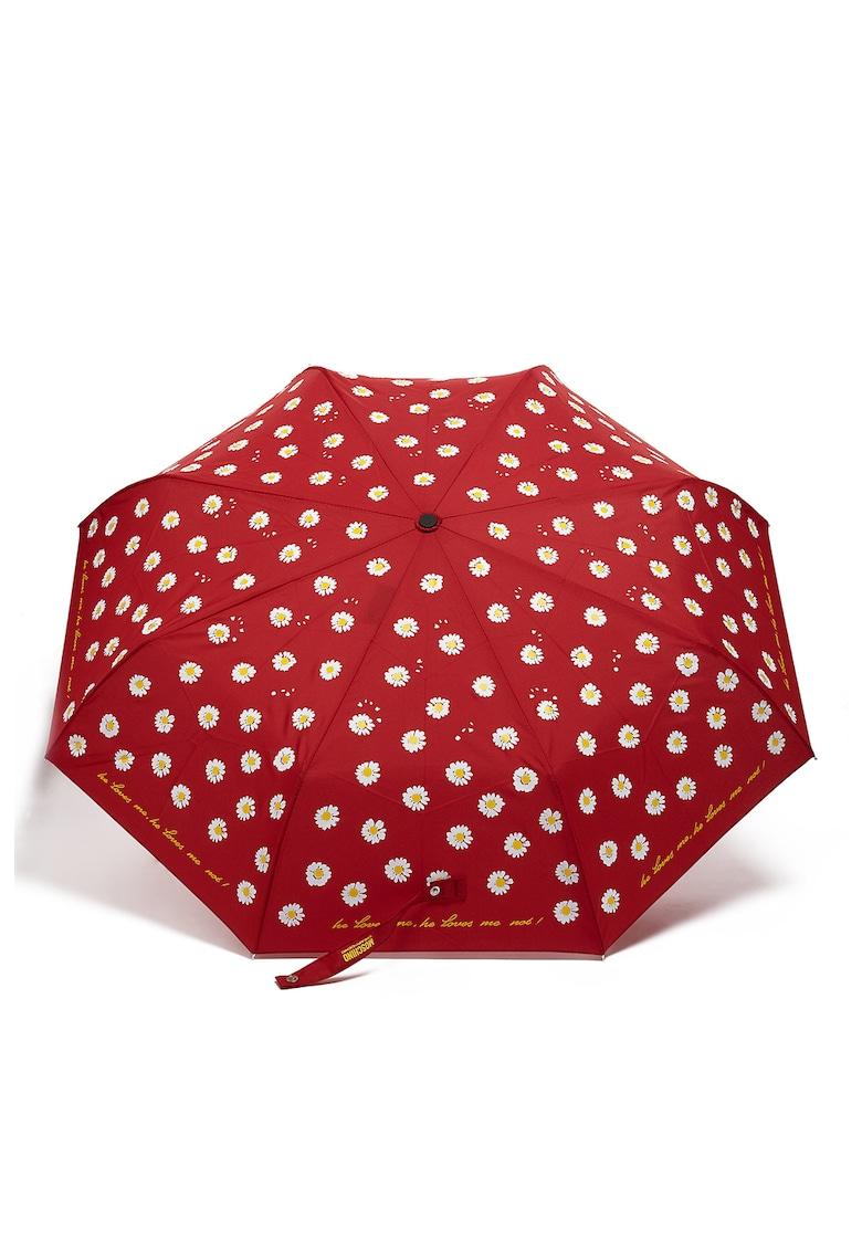 Umbrela cu imprimeu text si floral de la Moschino