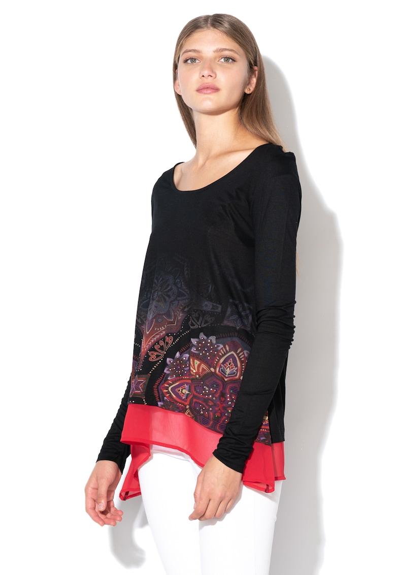 DESIGUAL Bluza din jerseu cu garnitura de sifon Olga