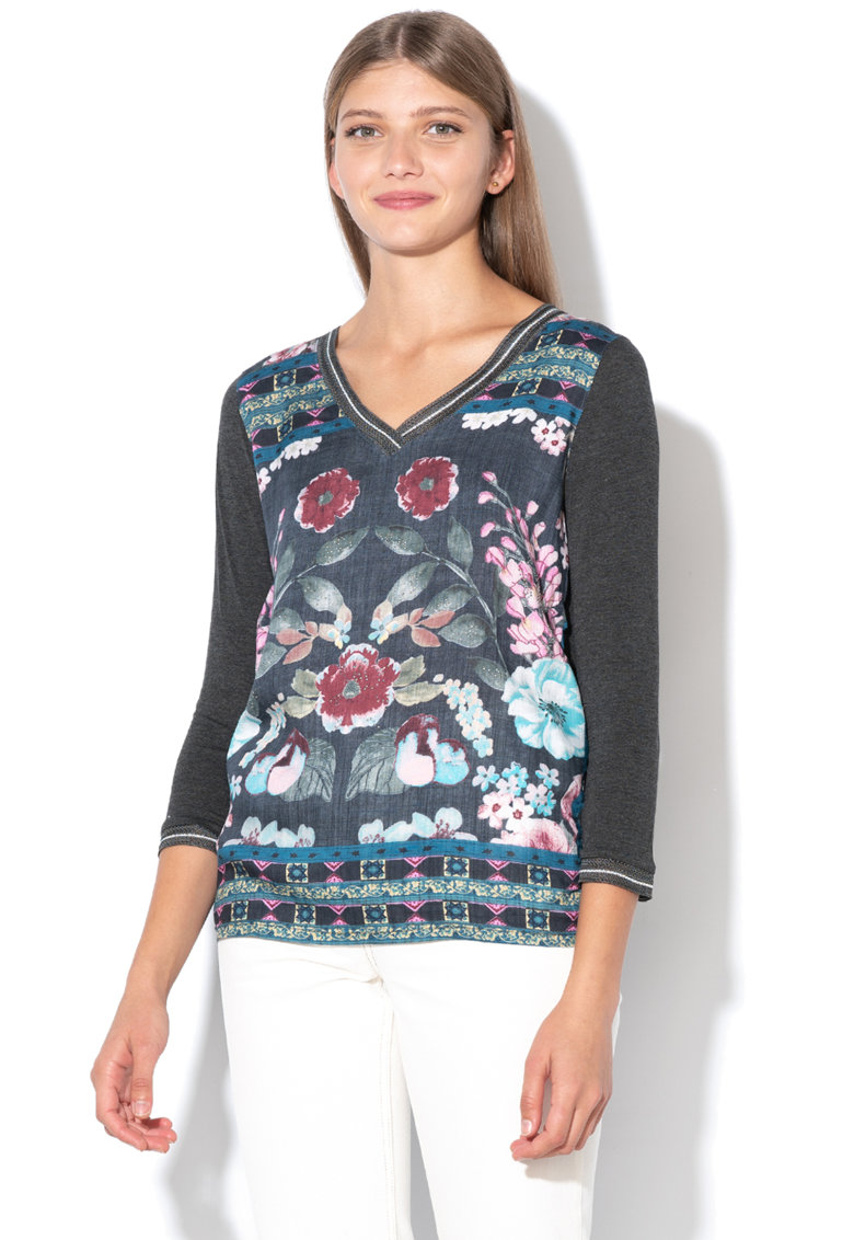 DESIGUAL Bluza cu decolteu in V si model floral Recife