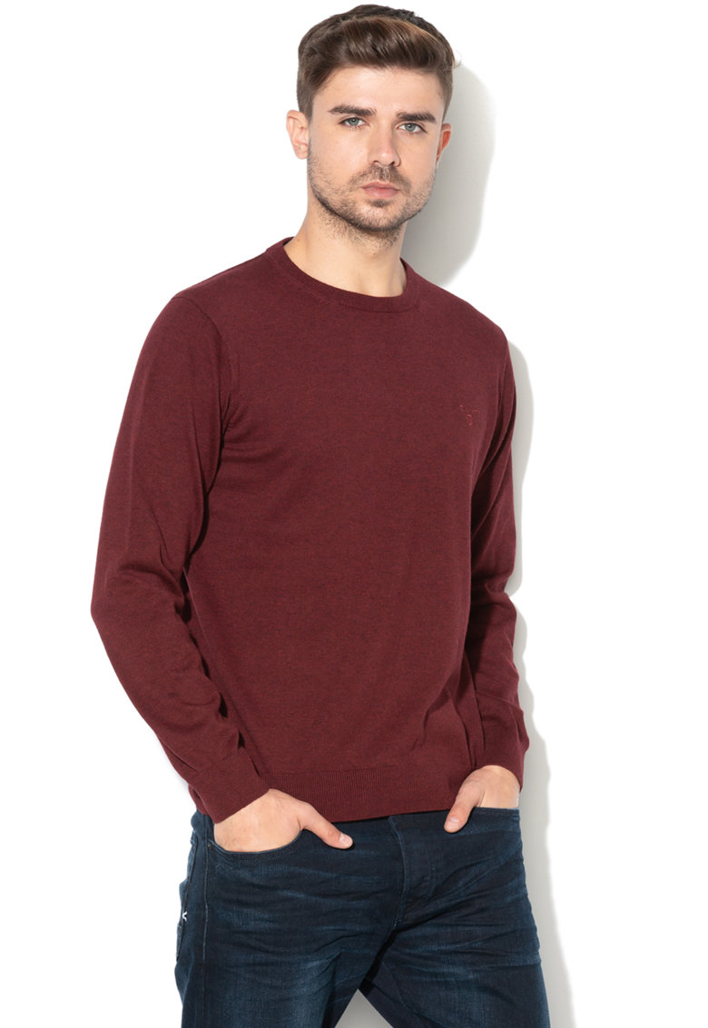 Pulover din tricot fin cu detaliu logo brodat de la Gant
