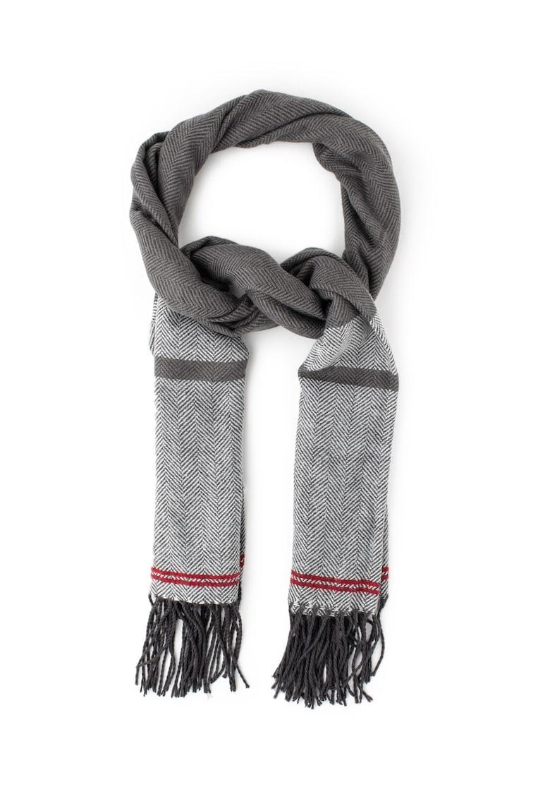 Pepe Jeans London Fular tricotat fin cu model herringbone New Tibes