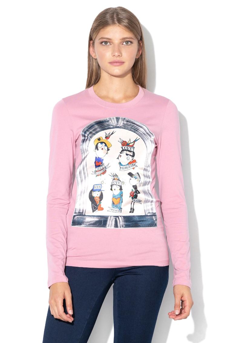 Love Moschino Bluza cu decolteu la baza gatului si aplicatie cu imprimeu