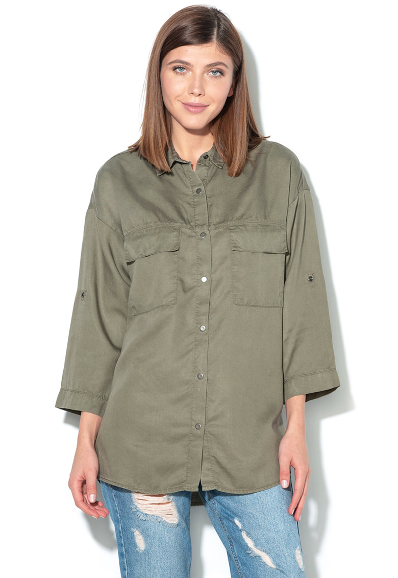 United Colors of Benetton Camasa din lyocell cu capse – Verde militar –
