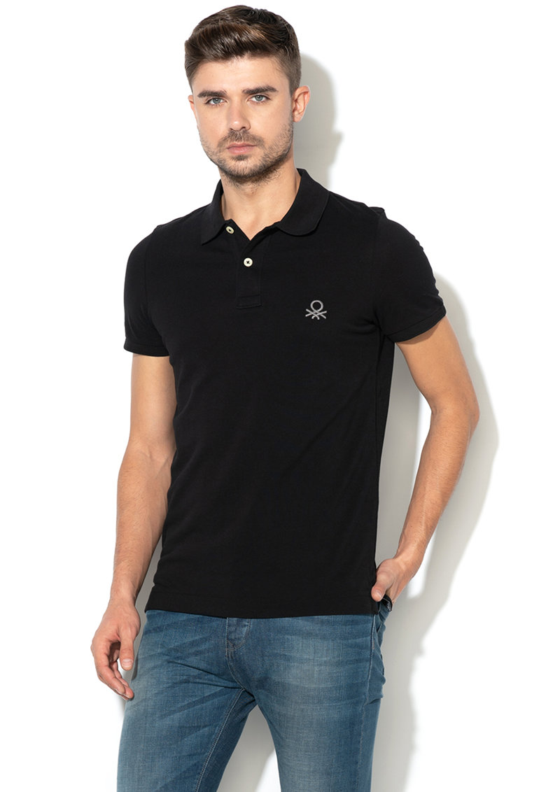 United Colors of Benetton Tricou polo muscle fit din pique – Negru –