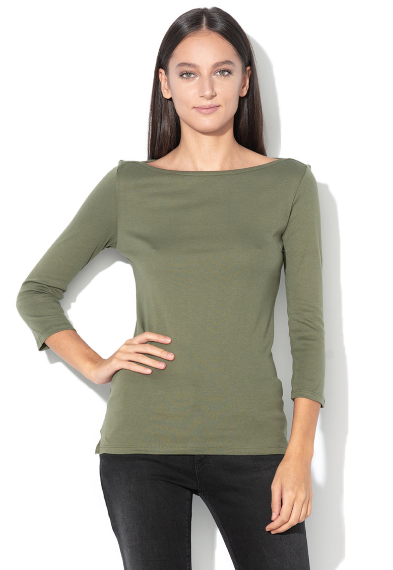 United Colors of Benetton Bluza cu maneci 3/4 si decolteu barcuta
