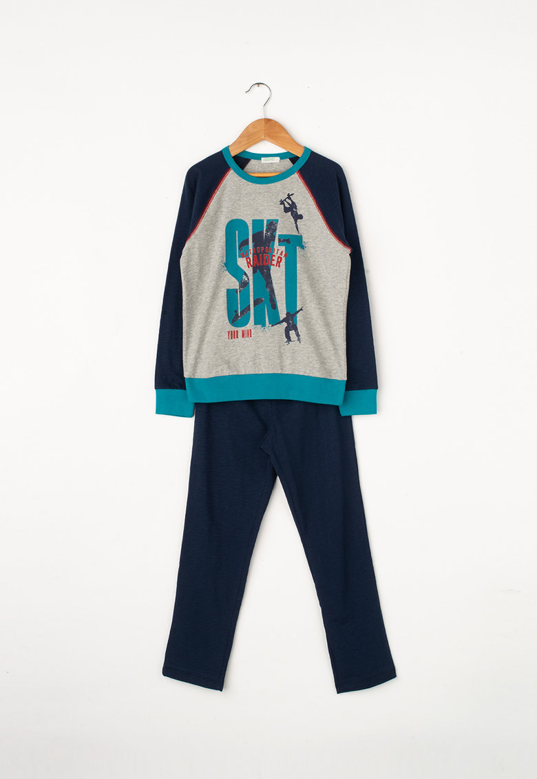 Pijama lunga cu imprimeu