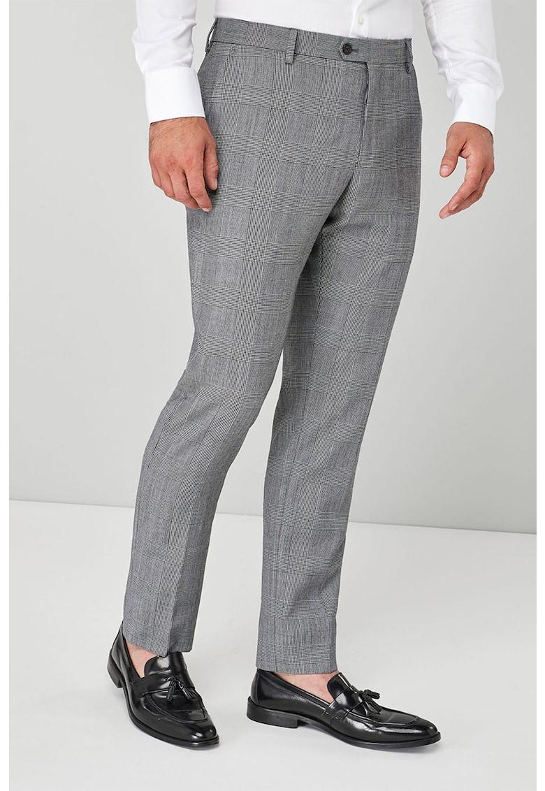 Pantaloni slim fit eleganti din amestec de lana