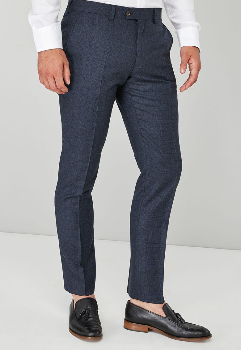 Pantaloni eleganti slim fit din lana Signature British
