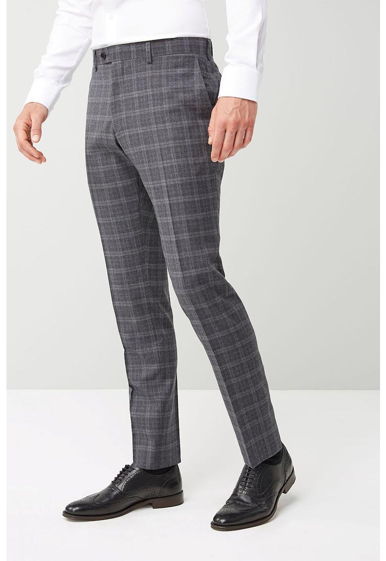 Pantaloni eleganti skinny din lana cu carouri