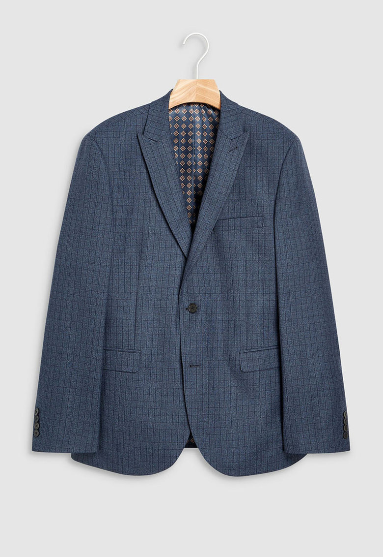 Sacou tailored fit din amestec de lana cu carouri