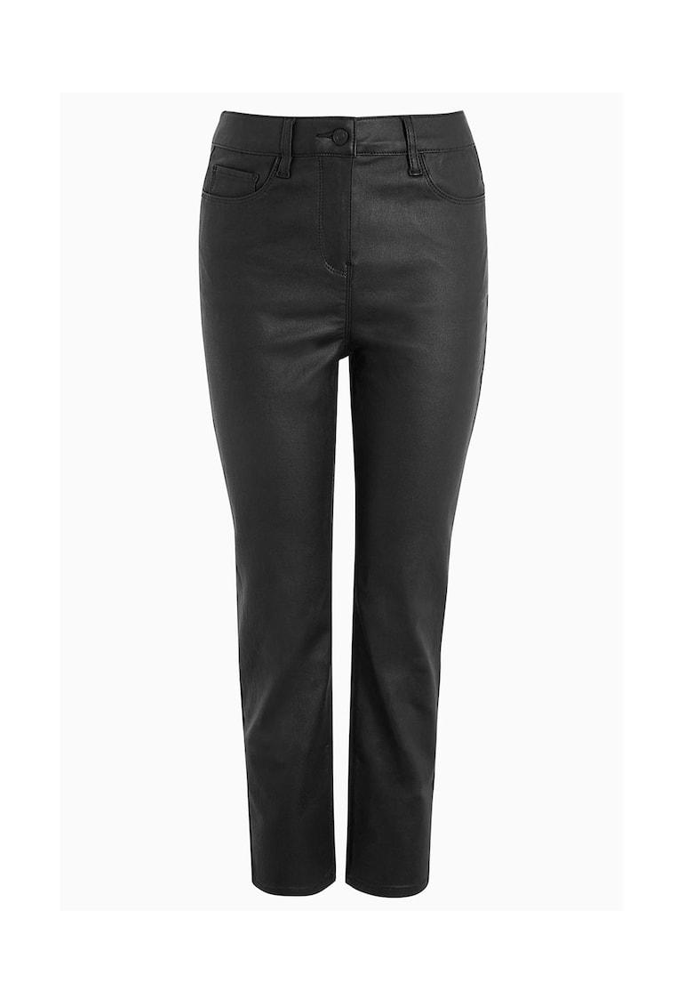 Pantaloni din piele ecologica cu talie inalta