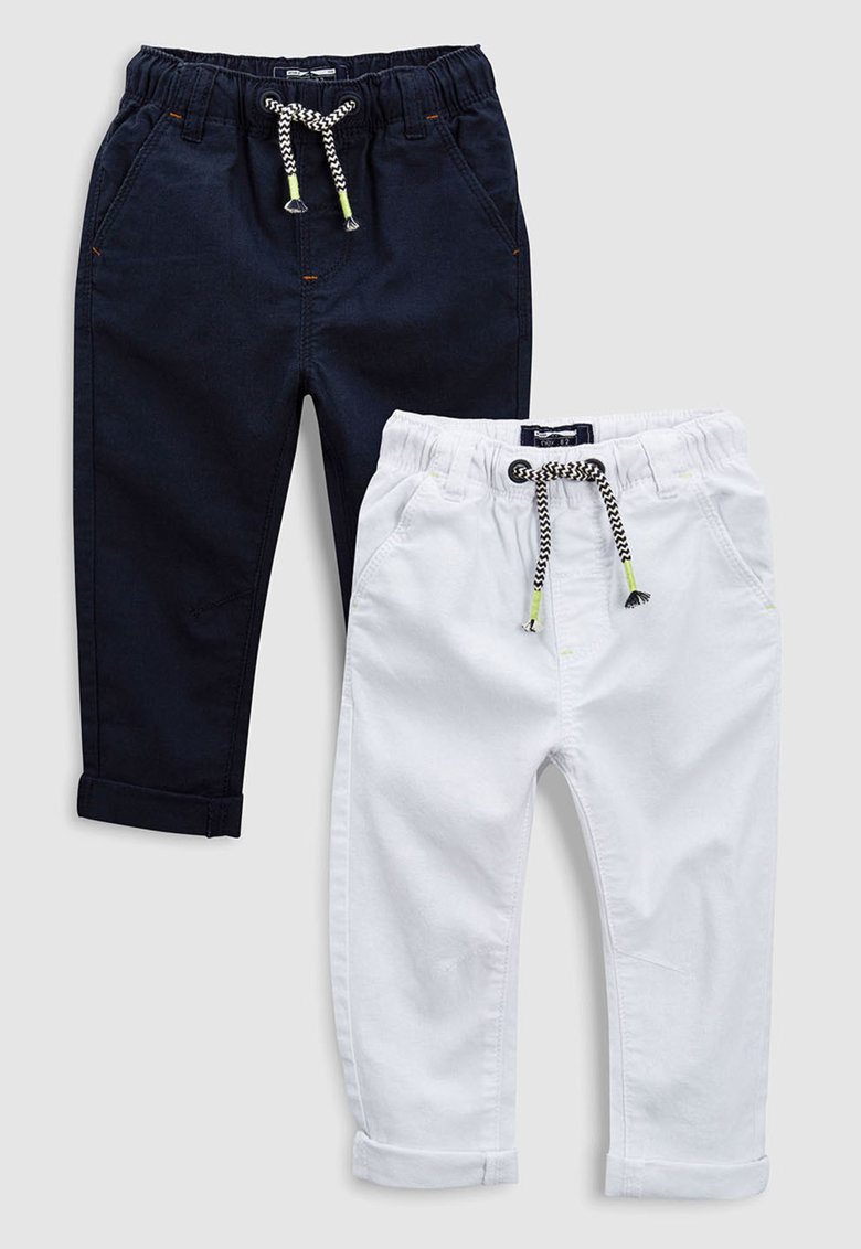 Set de pantaloni din amestec de in cu snur - 2 perechi