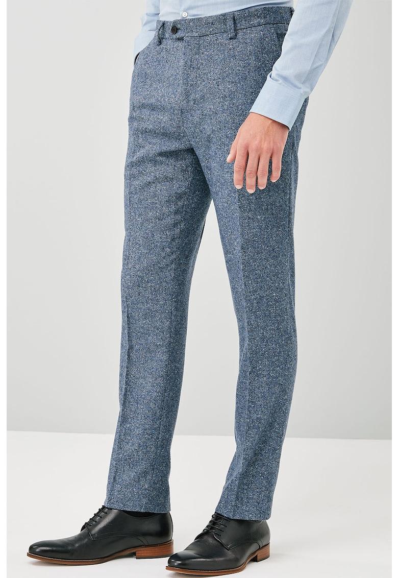 Pantaloni eleganti slim fit din amestec de lana Donegal