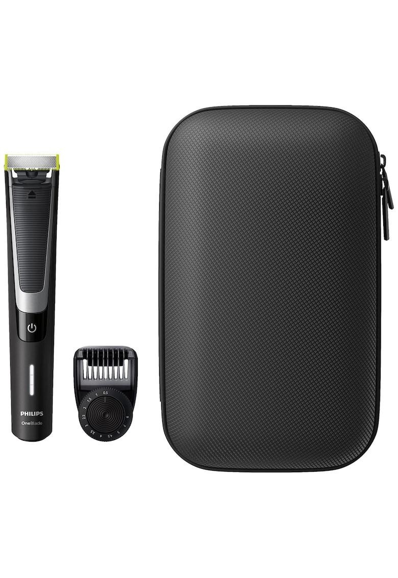 Philips Aparat hibrid de barbierit si tuns barba  OneBlade Pro /64 - Umed & Uscat - Pieptene 12 lungimi - Negru/Argintiu + trusa calatorie