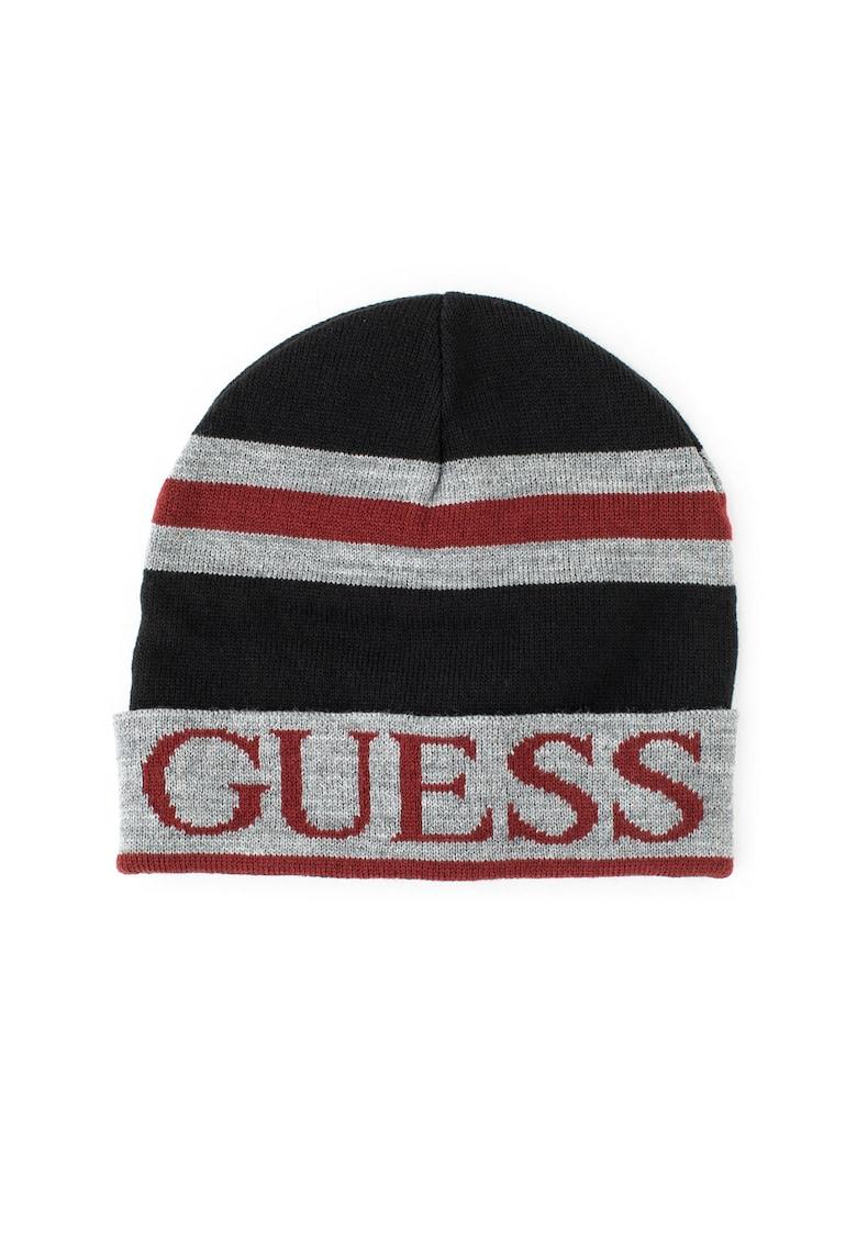 Caciula elastica tricotata fin - cu logo de la Guess