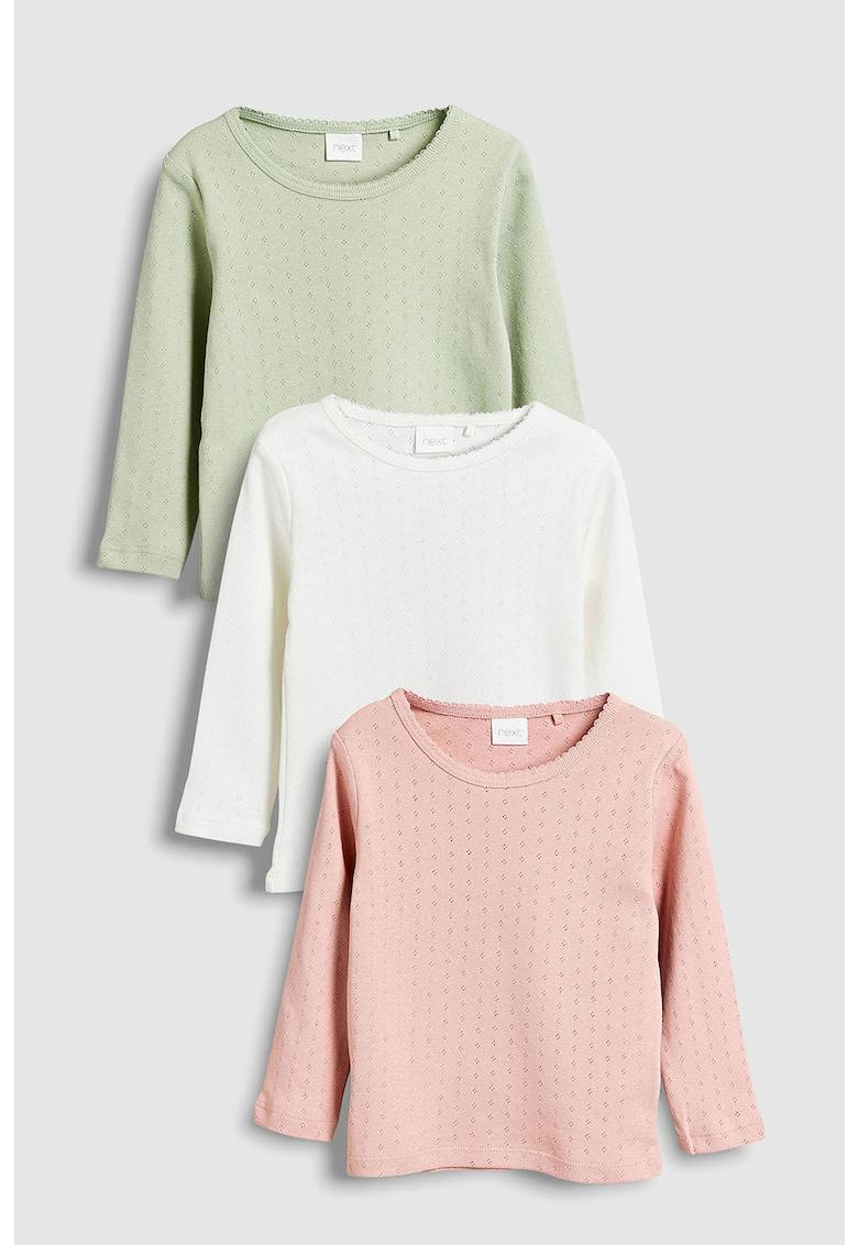 Set de bluze cu detalii perforate - 3 piese