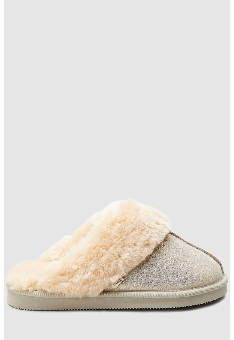 Papuci de piele intoarsa cu particule stralucitoare si garnitura de blana sintetica