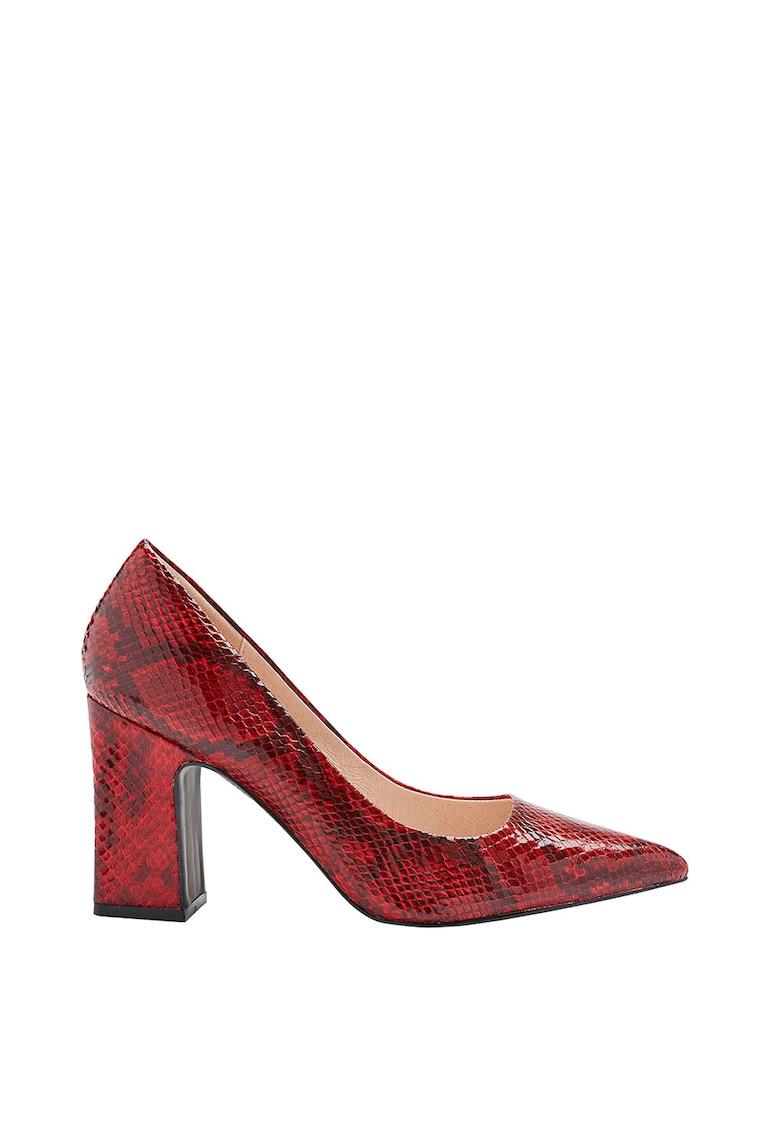 Pantofi de piele ecologica - cu model reptila